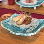 souiwashokunomura - 揚物(赤魚土佐揚げ 梅肉そーす)