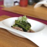souiwashokunomura - 焼物(鴨、小松菜、焼葱、すき焼き風)