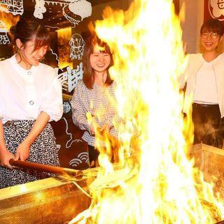 鰹のタタキをご注文で、鰹のわら焼き体験が可能です。