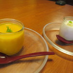 廣東料理 翠雲苑 - マンゴープリンと杏仁豆腐