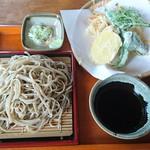 111809459 - 天ざる(かき揚げと山菜・野菜三品)