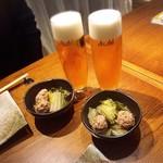 近江野菜鉄板串焼き わえん - 生ビールで乾杯♪