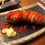 近江野菜鉄板串焼き わえん - ウィンナー。 ケチャップは別添えの方がありがたい(^◇^;)