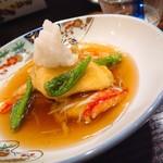 萬来 - 真鯛の天ぷら 蟹餡かけ