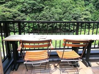 カフェ ひとあし - 中津川に面した席だけは大きな日傘は当たっていません。