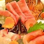 広起 - トロ、鯛、甘エビ、トリ貝の刺身(単品の注文をいくつかすると一つの皿に盛り合わせてドライアイスのサービスをしています。)