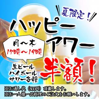 【夏限定!】月~木・17時~19時『ハッピーアワー』開催!
