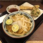 丸亀製麺 - すだちおろし冷かけ、ちくわ天、ニカニガのかき揚げ