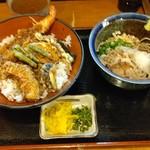上本町やまがそば - ●ランチ やまがセット (天丼+蕎麦 冷 選択) 900円 2019年07月