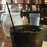 町カフェ - セットのアイスコーヒー ストローが細くてかわいい