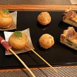 Restaurant Cinq - 1.アミューズ/グリッシーニ生ハム巻 グジェール パテ キッシュ