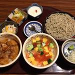 いっちょう - トリオ定食 オホーツク丼・十勝丼・ミニそば¥1350(税別)