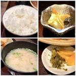 いっぽ - ◆ご飯はツヤがあり美味しい。 ◆浅利のお味噌汁。 ◆お豆腐シュウマイ・・お味は悪くないですが、温めて出されるといいですね。