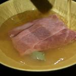 創作鉄板 粉者焼天 - 薄切り牛の塩出汁スープ 大根おろし