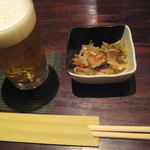 11194522 - つき出しの小鉢と生ビール