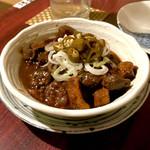 おうちあそび - *もつ煮(¥500) +トッピング 青唐辛子(¥50)