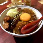 おうちあそび - *もつ煮(¥500) +トッピング 丼(どん)(¥200) +トッピング 生卵(¥50)
