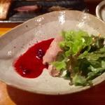 スモークバーベキュー さくら - フレッシュ鶏のレバパテ ラズベリーソース  680円