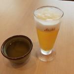 花旬庵 - ドリンク写真:我慢できずにグラスビール…(笑)
