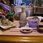 1120780 - あじたたき、秋刀魚刺身。