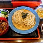 一休 - 武蔵野かてうどん肉汁、野菜天(かき揚げ)