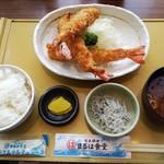 Maruhashokudou - エビフライ定食(エビフライ2本)+追加エビフライ1本