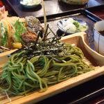 11209697 - 【天ざるそば】天ぷら、さっくさく~♪茶そばも田舎らしい雰囲気♪