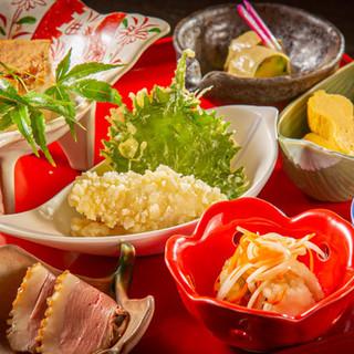 京都府近郊の新鮮な食材が多彩に味わえる「前菜の御膳仕立て」