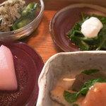 1121214 - 畑菜のおきな和え・ほうれん草の酒かす和え・大根の梅煮・わさび菜とこんにゃく