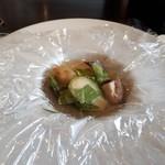 テラス - 蒸し物は 鰆 芽キャベツ しろな 椎茸 あさり