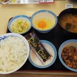 松屋 - 定番朝定食 牛皿 (税込)360円 (2019.07.22)
