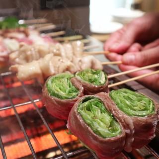 【名物】お肉×野菜の黄金比!まんざらの変わり串