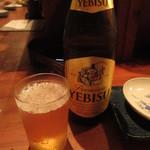 二十一亭 - エビス瓶ビール(中瓶) 600円 (2019.7)