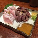 清水 KAKUREGA - 鶏刺し二種盛り980円(税抜き)