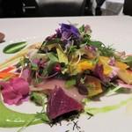 オーグードゥジュール メルヴェイユ 博多 - ガルグイユ サラダ 100種類以上の食材を使用した温かいサラダ これは素晴らしく美味しかったです♪