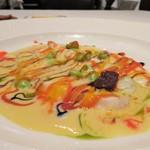 オーグードゥジュール メルヴェイユ 博多 - 福岡県産スズキのエスカロップ 枝豆とサフランの香るソース