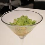 オーグードゥジュール メルヴェイユ 博多 - キュウイときゅうりのグラニテ 梅酒のジュレのニョッキ仕立