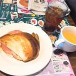 ジョナサン - ハム&チーズのホットサンドモーニング(税抜399円)