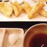 112218665 - 穴子の天ぷら、一口大に切られてサクッと食べやすい