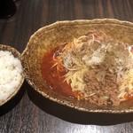 中華そば くにまつ - 汁なし坦々麺 大盛と半ライス