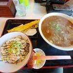 荒木伝次郎 - ・穴子一本天ぷら付 カレーうどん&鮭マヨ丼セット 1,080円(税込)