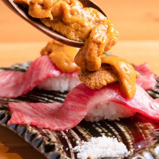 大人気「和牛握り寿司」うにやいくらのトッピングも相性抜群!