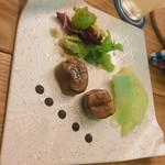 ブラッスリーオオサキ - フォアグラテリーヌのキャラメリゼとメロンのカルパッチョ