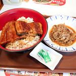 すき家 - 特うな丼と、牛皿ミニ