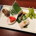 ギンザ うおぬま - 鱧の骨煎餅 鱧の小袖鮨 ツブ貝 フルーツトマト 茶豆