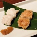 ギンザ うおぬま - 鱧の源平焼き 炭火白焼きと出汁焼き 梅肉
