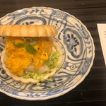蓬左茶寮 - 坂手赤ウニ最中 炙り平貝、茶豆、モッツァレラ