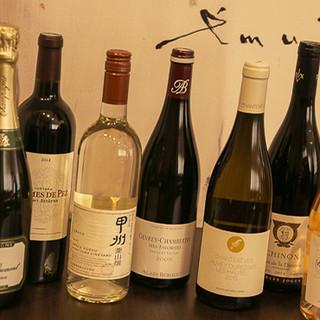 種類豊富なワインやソフトドリンク。幅広いラインナップでご用意
