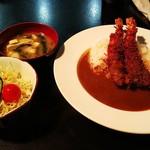 Resutorannarumi - 海老フライカレー(¥850)、サラダ(¥200)、味噌汁(¥100)