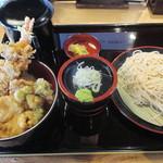 112357716 - 「鯛と海老と菜の花天丼のセット」(1,250円)